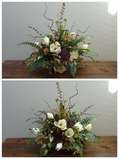 Magnolia and mixed greenery arrangement