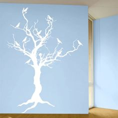 Stark Tree with Birds and Exposed Roots - Wall Decals Stickers Graphics