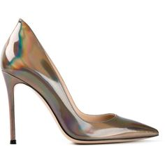Gianvito Rossi 'Ellipsis' pumps (96.165 HUF) ❤ liked on Polyvore featuring shoes, pumps, heels, обувь, metallic, stiletto heel pumps, heels stilettos, high heels stilettos, leather shoes and metallic shoes