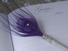 Peacock Feather Pen Favor with BLING in your choice of by Ivyndell, $9.00
