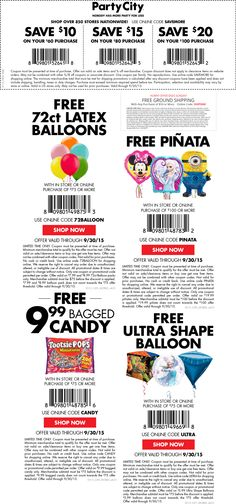 Get Your Promo Codes Or Coupons Save See More Pinned September 19th 10 Off 60 Various Freebies At Party City Online