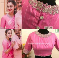 preetha hari pink blouse scaled e1594571077837 Wedding Saree Blouse Designs, Half Saree Designs, Pattu Saree Blouse Designs, Fancy Blouse Designs, Long Dress Design, Designer Blouse Patterns, Latest Blouse Patterns, Stylish Blouse Design, Work Blouse