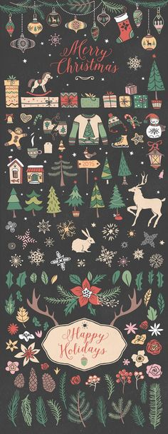 Christmas collection by kite-kit on @creativemarket Trendy graphic design art for a merry christmas, perfect for decorations, crafts, pictures, gifts, DIY, cards or simple for ideas and inspiration.