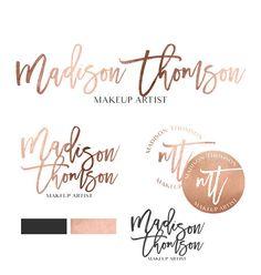 Branding kit, Branding Package, Female business logo, Rose gold foil logo,Premade makeup artist logo, Blog logo design, Wedding logo Madison