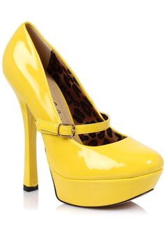 Mary Jane Platform Pumps with Buckle Strap. Yellow Patent Uppers, Stout Closed Toe.  Stiletto Heels & Platform Soles.