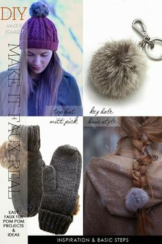 Learn how to make a faux fur pom pom and add them to knitting projects   DiaryofaCreativeFanatic