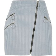 90a907a027c0bb Light blue corduroy hoop zip biker skirt ( 54) ❤ liked on Polyvore  featuring skirts