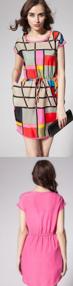 Colorful Grid Plaid Dress! Click The Image To Buy It Now or Tag Someone You Want To Buy This For. #MiniDress