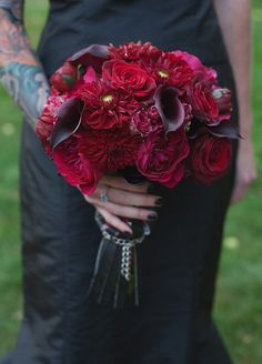 Burgundy Roses, Red Mums, Black Calla Lily Bouquet