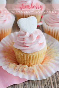 Strawberry marshmallow cupcakes - vanilla cupcakes filled with marshmallow cream and topped with a sweet strawberry marshmallow buttercream