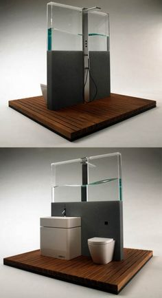 The BRS (Bathroom Recycle System), designed by Frank Guo, its design saves water and energy. The water you waste while waiting for the shower to warm up gets collected in the glass wall and used for the wash basin and toilette.