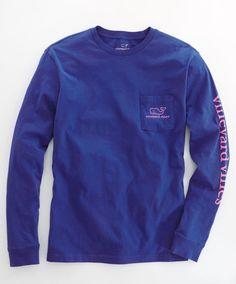 Vineyard Vines - L/S Vintage Whale Graphic Pocket T-Shirt - Color : Wintermint, Size : Medium