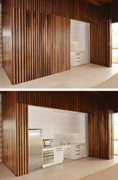 The use of SUPASLAT slatted panels rather than loose slats provides flexibility incorporate hidden access points without interrupting the continuity of the slatted lining effect. Here a kitchen is concealed behind slatted panelled sliding doors which when closed become part of the slatted wall.  Photo©JadaArt