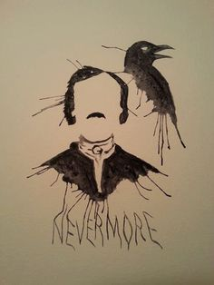 Edgar Allan Poe Nevermore Raven Watercolor by TheCreatureSeeker, $10.00