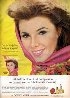 1963 Cover Girl Make-up Ad Model Sheila Finn Photo Mad Men Era Vintage Advertising Print Vanity / Bathroom / Salon Wall Art Decor Vintage Makeup Ads, Retro Makeup, Vintage Beauty, Vintage Ads, Cover Girl Makeup, Beauty Ad, Vintage Hairstyles, Beautiful Models, Covergirl