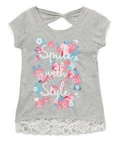 Look at this #zulilyfind! Gray Lace-Trim 'Smile With Style' Tee - Girls #zulilyfinds