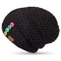 Čierna ručne háčkovaná čiapka s gombíkmi DOKE Sirius Textiles, Pill Boxes, Crochet Projects, Diy And Crafts, Crochet Hats, Beanie, Knitting, Handmade, Bags