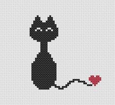 Little Cat with Heart Cross Stitch Cross Stitch Heart, Simple Cross Stitch, Cross Stitch Alphabet, Pattern Cute, Cat Pattern, Cross Stitching, Cross Stitch Embroidery, Cross Stitch Patterns, Cute Black Cats