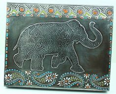 Elephant Parade Metal - by Elitia Hart using the Elephant Parade Stencil by Nathalie Kalbach for StencilGirl Products