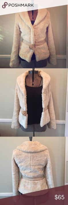 """Faux fur Beth Bowley jacket Beautiful, super soft, authentic, Beth Bowley jacket. Its a lovely cream/ivory color. 85% acrylic, 15% cotton.  I listed it as """"0P"""" since there was no """"P"""" option. Fully lined with four big hook and eye enclosures in the front. Worn very few times and in great shape. Flower in front has always hung down a little. Pairs just as beautifully with jeans/heels as it would with your little black dress.. Beth Bowley Jackets & Coats"""