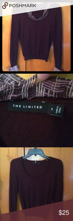 The Limited   Sweater Beautiful purple sweater by The Limited. Collar and sleeve linings are removable. Size small. Super soft fabric! The Limited Sweaters Crew & Scoop Necks