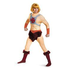 Disguise Men's He-Man Classic Adult Costume, Multi, X-Large: Product includes- jumpsuit and wig. Hero Costumes, Adult Costumes, He Man Costume, Plus Size Costume, Spirit Halloween, Halloween Ideas, Male Cosplay, Hippie Costume, Men Design