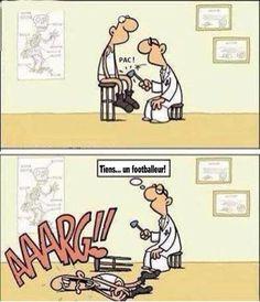 Reconnaître un footballeur chez le docteur.