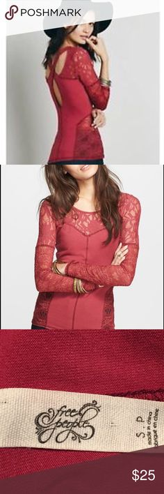   Free People Sweet Thang Top Beautiful burnt red, delicate, lace trimmed neck, bodice and sleeves top.  Figure flattering and soft stretch cotton.  Crossed straps in back.  In excellent, gently used condition. Free People Tops
