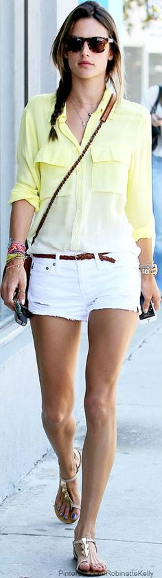 Love this summer look! Don't really like yellow, but this top is super cute!