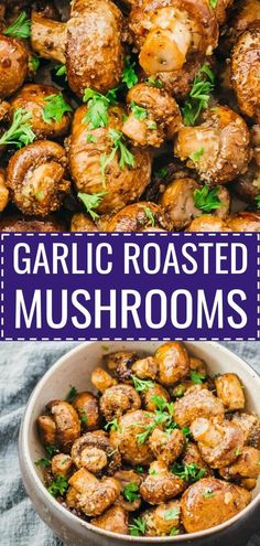 These awesome garlic roasted mushrooms with balsamic vinegar are baked in the oven and perfect as a simple but delicious side dish. Great for holidays like Thanksgiving. It's a healthy recipe, low carb and keto friendly, and easy to make vegan or paleo by skipping the parmesan cheese. You can add extra flavors like thyme, rosemary, or oregano. Click the pin for the recipe! #healthy #healthyrecipes #lowcarb #keto #ketorecipes #glutenfree #vegetarian #thanksgiving