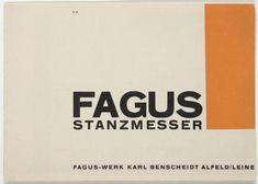 Herbert Bayer. Fagus Stanzmesser. 1923