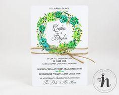 "Invitatii nunta florale, botanice – ""LAVINIA"" Nasa, Place Cards, Place Card Holders, Floral, Wedding, Valentines Day Weddings, Flowers, Weddings, Flower"
