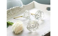 Vintage bedroom accessories - thinking of changing the door knobs and cupboard handles with vintage clear glass ones perhaps.