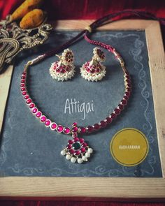 South India Jewels is a one stop destination to shop stunning South Indian Jewellery Designs. Shop the best of neckace,earrings,bangles,chokers and lot more from various brands at one place here! Indian Wedding Jewelry, Indian Jewelry, Bridal Jewelry, Real Gold Jewelry, Pearl Jewelry, Pendant Jewelry, Diy Jewelry, Jewelry Sets, Indian Jewellery Design