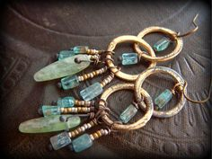 Gold HoopsKyaniteTopazEthiopian Beaded Earrings by YuccaBloom