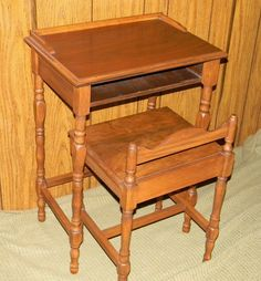 Vintage Antique Unique Hand Made Telephone Entry Foyer Small Desk Table Chair | eBay
