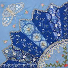Part of a Crazy quilt by Lisa P. Boni - Dresden Plate fans with embroidery