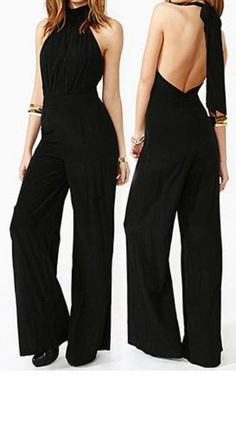 Love this Jumpsuit Design! Sexy Stylish Halter Sleeveless Solid Color Lace-Up Backless Women's Jumpsuit