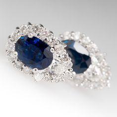 Dark Blue Sapphire & Diamond Vintage Earrings