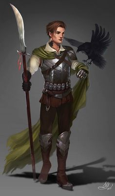 Glave warrior concept by Elistraie fighter elf with raven character concept for DnD / Pathfinder Male Character, Fantasy Character Design, Character Portraits, Character Design Inspiration, Character Concept, Story Inspiration, Dungeons And Dragons Characters, Dnd Characters, Fantasy Characters