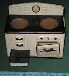 Vintage MFZ Fuchs Tin Toy Kitchen Stove with Clock 1940s Germany | eBay