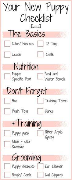 new puppy checklist 1