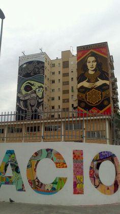 D*Face, Obey, Boamistura 2013 Soho Malaga. Barrio de las Artes - Arts Quarter. Malaga. Costa del Sol. Spain