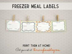 Printable freezer meal labels