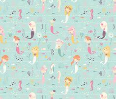 By 1//2 Yard Michael Miller Fabric Mer-Mates Fairy Tails Aqua ~ Mermaid Seahorse