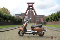Der Amber Scoot Elektro-Roller aus der Retro Line Serie im Chocolate Look - ab 1.599 Euro www.amberscoot.de