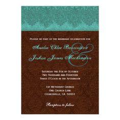 #Teal #Chocolate #Damask #Monogram #Wedding #Invite http://www.zazzle.com/teal_and_chocolate_damask_monogram_wedding_v15d_invitation-161837827024409762