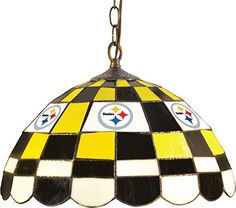 Imperial Officially Licensed NFL Merchandise: Tiffany-Style Stained Glass Round Dome Pub Light, Pittsburgh Steelers