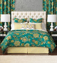 Love, Love, Love This for the master bedroom - love the fresh new turqoise tone and we can play into the yellow and beiges this has in it.  McQueen Collection from Eastern Accents