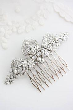 Braut Haarkamm Art-Deco-Crystal Kamm für Braut silberne